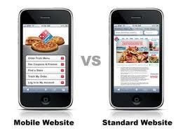 normal website vs a mobile website