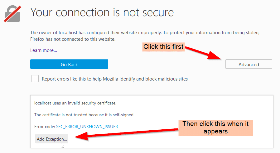 Firefox - Adding SSL Self-Signed Exception