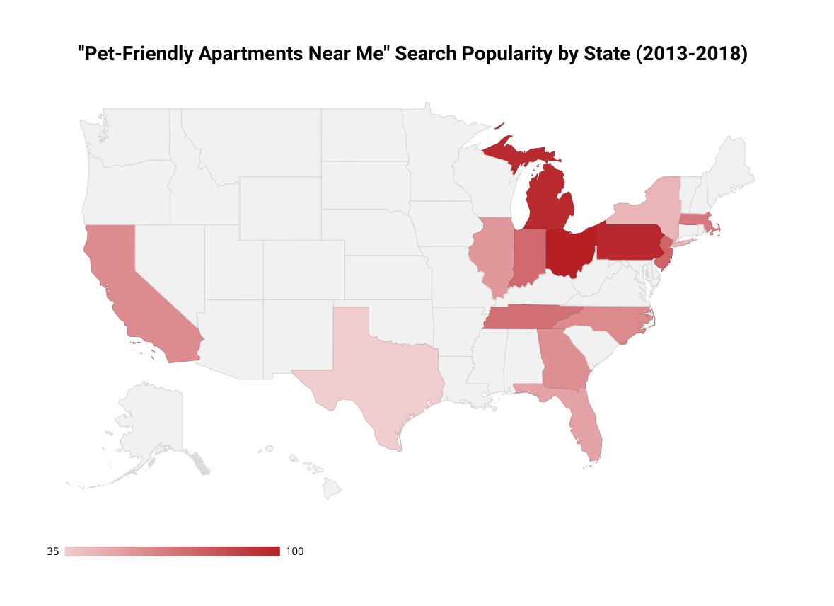 pet friendly searches by region